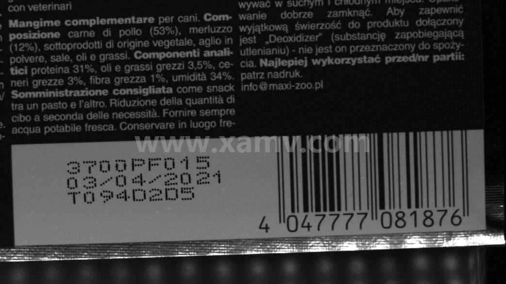 包装袋上不连续点状的生日批号、日期识别